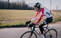Tiesj Benoot (BEL/Lotto-Soudal)<br /> <br /> Omloop Het Nieuwsblad 2018<br /> Gent &rsaquo; Meerbeke: 196km (BELGIUM)