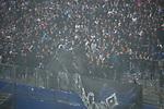 12.05.2018, Volksparkstadion, Hamburg, GER, 1.FBL. Hamburger SV vs Borussia Moenchengladbach,  im Bild   <br /> <br /> Kurz vor End zuendeten in der Nordkurve die Ultras Feuerwerksk&ouml;rper das spiel wurde unterbrochen -Polizei mit Hunden und Pferden sicherten die Spieler<br /> <br /> Ultras packen ihre Sachen zusammen und verschwinden aus dem Stadion <br /> Foto &copy; nordphoto / Kokenge