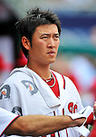 8 September 2011: Washington Nationals pitcher Chien-Ming Wang watches play from the dugout during a game against the Los Angeles Dodgers at Nationals Park in Washington, DC. The Dodgers defeated the Nationals 7-4 to take the third game of their 4-game series. Mandatory Credit: Ed Wolfstein Photo