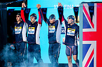 Picture by Rogan Thomson/SWpix.com - 30/07/2017 - Swimming - Fina World Championships 2017 -  Duna Arena, Budapest, Hungary - Duncan Scott, James Guy, Adam Peaty and Chris Walker-Hebborn walk out as Great Britain go on to win the Silver Medal in the Final of the Men's 4x100m Medlay Relay.