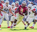 Florida State running back Jacques Patrick runs against Delaware State in Tallahassee, Fl.  Florida State defeated Delaware State 77-6 in NCAA football.