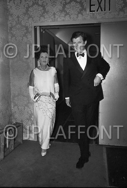 Manhattan, New York City, 22 January 1969 — Ted kennedy and his mother Rose at the Democratic Party's dinner at the Pierre Hotel in NYC.