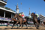 November 3, 2018: Shamrock Rose #14, ridden by Irad Ortiz, Jr., wins the Breeders' Cup Filly & Mare Sprint on Breeders' Cup World Championship Saturday at Churchill Downs on November 3, 2018 in Louisville, Kentucky. Alex Evers/Eclipse Sportswire/CSM