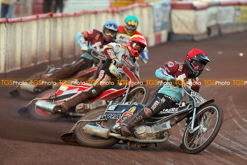 Heat 2: Rob Mear (red), Paul Hurry (yellow), Stuart Robson (blue) and Luke Bowen - Lakeside Hammers vs Swindon Robins - Sky Sports Elite League Speedway at Arena Essex Raceway, Purfleet - 07/08/09 - MANDATORY CREDIT: Gavin Ellis/TGSPHOTO - Self billing applies where appropriate - Tel: 0845 094 6026