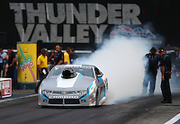 Jun 19, 2015; Bristol, TN, USA; NHRA pro stock driver Jonathan Gray during qualifying for the Thunder Valley Nationals at Bristol Dragway. Mandatory Credit: Mark J. Rebilas-