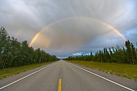 Rainbow over the Alaska highway near Delta Junction, Alaska.