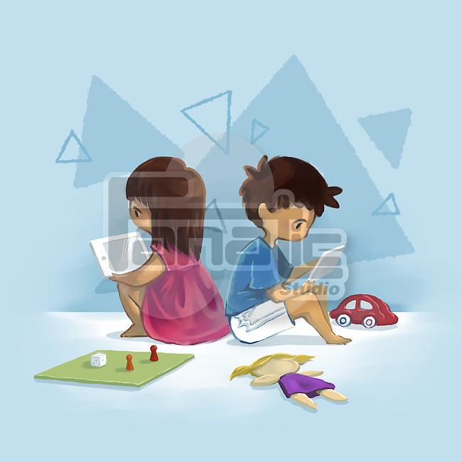 Illustrative image of children using digital tablet representing computer addiction