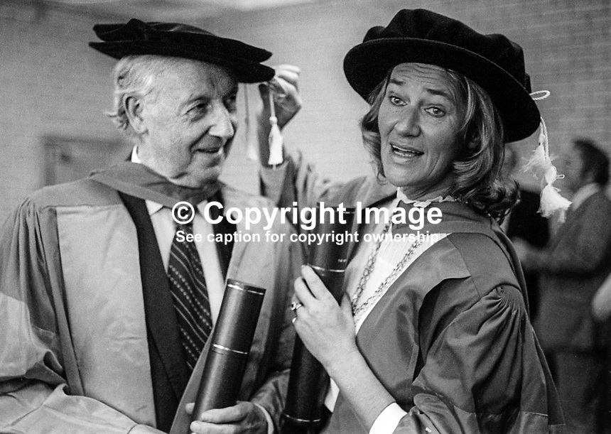 New University of Ulster honorary graduates, Jimmy Kennedy, song writer and lyricist, who was born in N Ireland, and Jane Ewart-Biggs, the wife of IRA-assasinated UK ambassador to the Rep of Ireland, Christopher Ewart-Biggs, after the ceremony at the Coleraine Campus, July 1978.  July, 1978, 197807000199b<br />