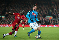 Napoli's Fabian shields the ball from Liverpool's Sadio Mane <br /> <br /> Photographer Alex Dodd/CameraSport<br /> <br /> UEFA Champions League Group E - Liverpool v Napoli - Wednesday 27th November 2019 - Anfield - Liverpool<br />  <br /> World Copyright © 2018 CameraSport. All rights reserved. 43 Linden Ave. Countesthorpe. Leicester. England. LE8 5PG - Tel: +44 (0) 116 277 4147 - admin@camerasport.com - www.camerasport.com