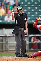 Umpire Ben Levin during a game between the Reading Fightin Phils and New Hampshire Fisher Cats on May 30, 2016 at Northeast Delta Dental Stadium in Manchester, New Hampshire.  New Hampshire defeated Reading 9-1.  (Mike Janes/Four Seam Images)