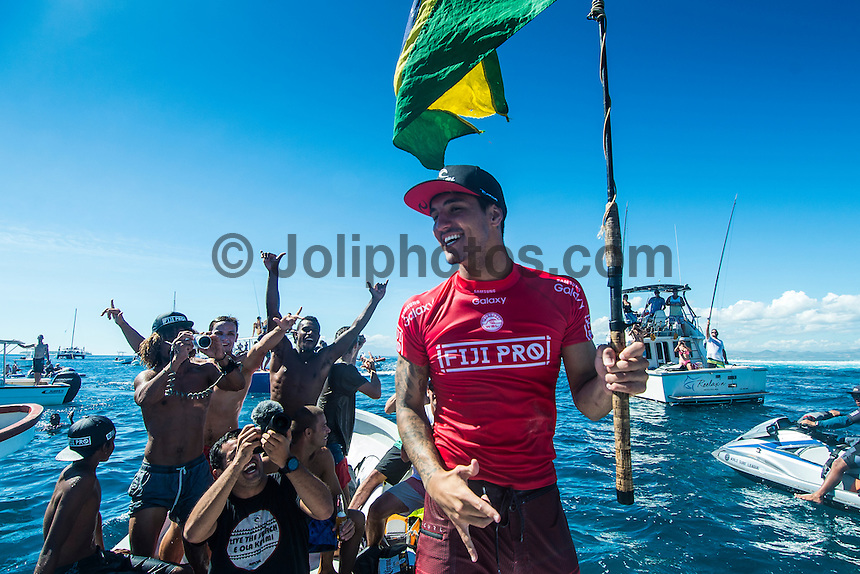 Namotu Island Resort, Nadi, Fiji (Friday, June 17 2016):   Gabriel Medina (BRA) - The Fiji Pro, stop No. 5 of 11 on the 2016 WSL Championship Tour, wrapped up today at Cloudbreak with a consistent SSW swell in the 6'-8' range. Gabriel Medina (BRA)  took out the final over fellow goofy footer and ratings leader Matt Wilkinson (AUS). <br /> Medina has won twice in the last three years. The contest was completed in perfect conditions with a number of rides in the excellent range. Photo: joliphotos.com
