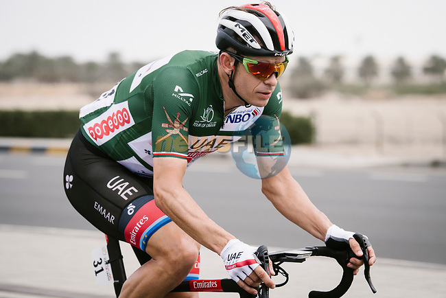 Alexander Kristoff (NOR) UAE Team Emirates wearing the Green Jersey during Stage 6 of the 10th Tour of Oman 2019, running 135.5km from Al Mouj Muscat to Matrah Corniche, Oman. 21st February 2019.<br /> Picture: ASO/P. Ballet | Cyclefile<br /> All photos usage must carry mandatory copyright credit (© Cyclefile | ASO/P. Ballet)
