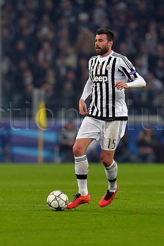 23.02.2016. Turin, Italy. UEFA Champions League football. Juventus versus Bayern Munich.  Andrea Barzagli on the ball