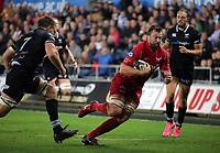 David Bulbring of the Scarlets runs forward during the Guinness PRO14 Round 6 match between Ospreys and Scarlets at The Liberty Stadium , Swansea, Wales, UK. Saturday 07 October 2017