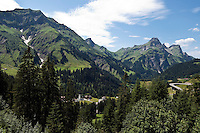 Austria, Vorarlberg, Bregenzerwald, Schroecken: village at Bregenzerwald Road with Heiterberg (2.192 m) and Widderstein (2.533 m) mountains