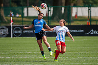 Kansas City, MO - Wednesday August 16, 2017: Lo'eau Labonta, Danielle Colaprico during a regular season National Women's Soccer League (NWSL) match between FC Kansas City and the Chicago Red Stars at Children's Mercy Victory Field.