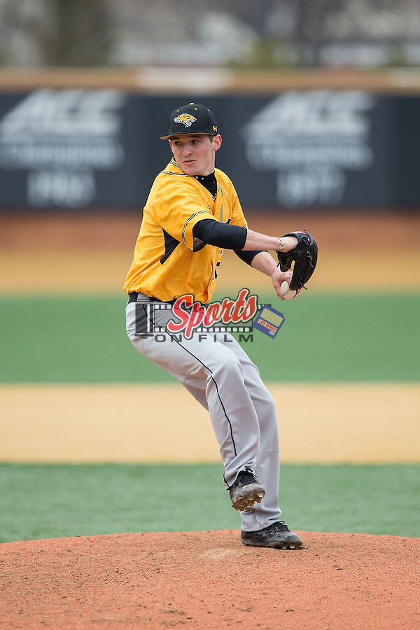 Towson Tigers relief pitcher David Marriggi (16) in action against the Wake Forest Demon Deacons at Wake Forest Baseball Park on March 1, 2015 in Winston-Salem, North Carolina.  The Demon Deacons defeated the Tigers 15-8.  (Brian Westerholt/Sports On Film)