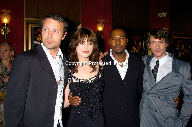 """Mads Mikkelson, Keira Knightley, Director Antoine Fuqua  and Hugh Dancy..at the World Premiere of """"King Arthur"""" on June 28, 2004 at ..the Ziegfeld Theatre. ..Photo by Robin Platzer, Twin Images"""