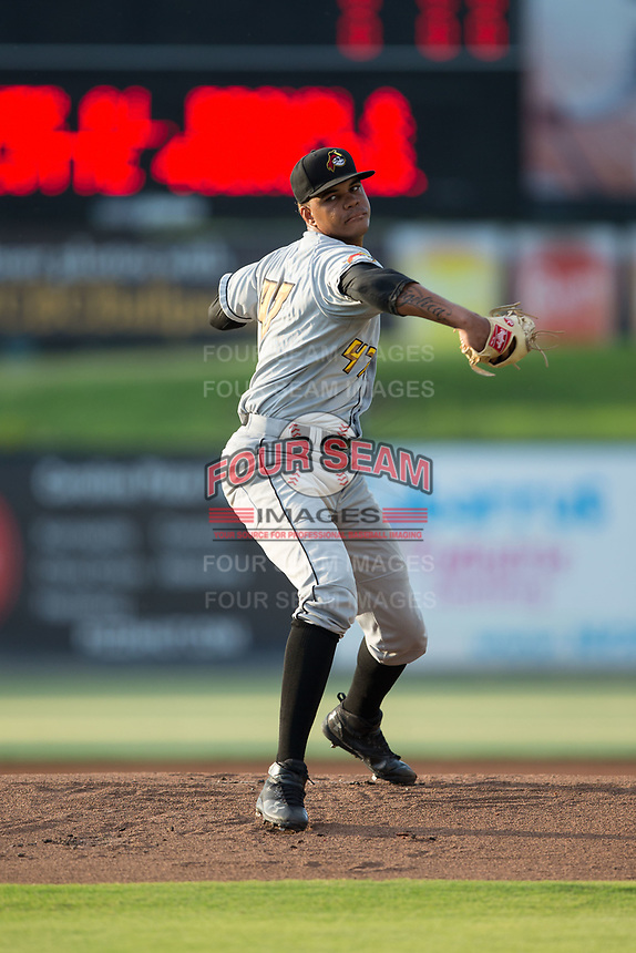West Virginia Power starting pitcher Oddy Nunez (47) in action against the Kannapolis Intimidators at Kannapolis Intimidators Stadium on July 19, 2017 in Kannapolis, North Carolina.  The Power defeated the Intimidators 7-4 in 11 innings.  (Brian Westerholt/Four Seam Images)