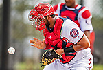 22 February 2019: Washington Nationals catcher Raudy Read takes drills at home plate during a Spring Training workout at the Ballpark of the Palm Beaches in West Palm Beach, Florida. Mandatory Credit: Ed Wolfstein Photo *** RAW (NEF) Image File Available ***