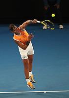16th January 2019, Melbourne Park, Melbourne, Australia; Australian Open Tennis, day 3; Rafae l  Nadal of Spain serve <br /> during a match  against Matthew Eden of Australia