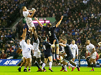 8th February 2020; Murrayfield Sadium, Edinburgh, Scotland; International Six Nations Rugby, Scotland versus England;  George Kruis of England makes the catch in the line out