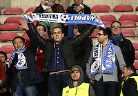 Thursday 27 February 2014<br /> Pictured: Swansea supporters.<br /> Re: UEFA Europa League, SSC Napoli v Swansea City FC at Stadio San Paolo, Naples, Italy.
