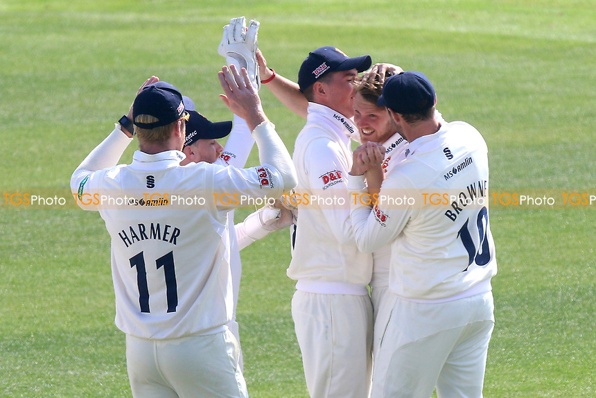 Jamie Porter of Essex (2nd R) celebrates taking the wicket of Haseeb Hameed during Essex CCC vs Lancashire CCC, Specsavers County Championship Division 1 Cricket at The Cloudfm County Ground on 7th April 2017