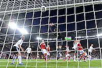 LVIV, UCRANIA, 17 JUNHO 2012 - EURO 2012 - ALEMANHA X DINAMARCA - Michael Krohn Dehli    jogador da Dinamarca marca gol contra a Alemanha em partida pelo terceira rodada do grupo B da Euro 2012 em Lviv na Ucrania neste domingo, 17. (FOTO: PIXATHLON / BRAZIL PHOTO PRESS).
