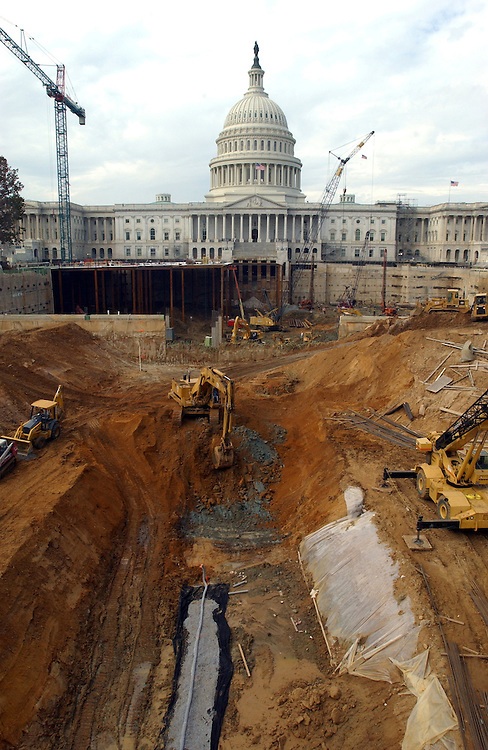 Construction at the visitors center for the U.S. Capitol.