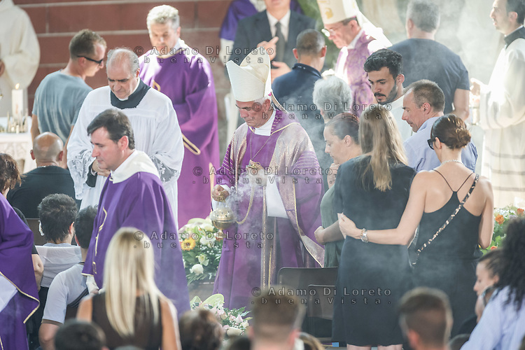 Mons. Giovanni D'Ercole during the Funeral earthquake on PalaSport Monticelli in Ascoli Piceno  August 27, 2016, in Marche, Italy. Photo by Adamo Di Loreto