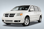 Low aggressive driver side front three quarter view of a 2008 Dodge Caravan