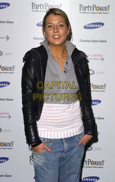 EMMA GREENWOOD (BIG BROTHER).At Charity Glam Slam Poker Tournament, .Titanic, Brewer Street, London, England, .April 22nd 2006..half length cropped grey top hands in pockets black jacket.Ref: CAN.www.capitalpictures.com.sales@capitalpictures.com.©Can Nguyen/Capital Pictures