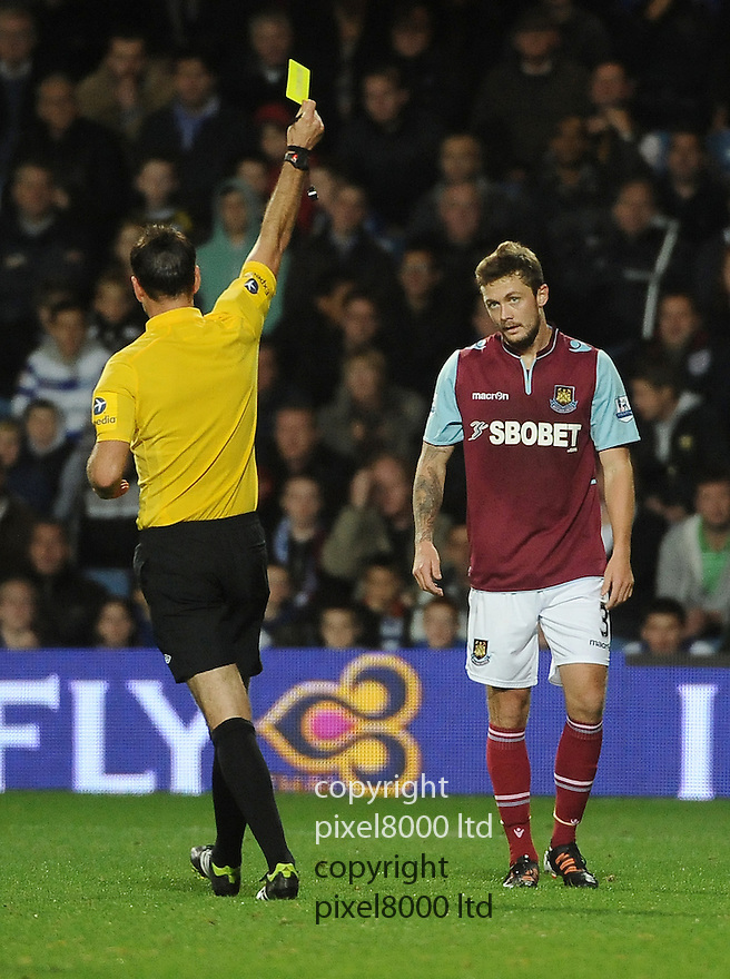 George McCartney of West Ham United in action during the Barclays Premier League match between West Ham United and Queens Park Rangers at Loftus Road on Monday ,01 October 2012 in London, England. Picture Zed Jameson/pixel 8000 ltd