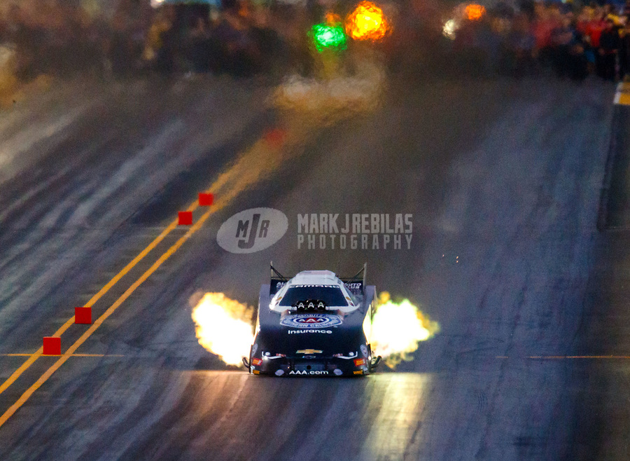 Jul 28, 2017; Sonoma, CA, USA; NHRA funny car driver Robert Hight runs the fastest speed in NHRA history at 339.87 mph during qualifying for the Sonoma Nationals at Sonoma Raceway. Mandatory Credit: Mark J. Rebilas-USA TODAY Sports