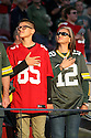 August 26 2016: Packers Fans with a Niners fan during the Green Bay Packers during a 21-10 victory over the San Francisco 49ers at Levi's Stadium in Santa Clara, Ca.