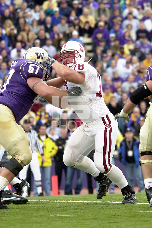 Travis Pfeifer during Stanford's 42-28 loss to the Washington Huskies on November 3, 2001 in Seattle, WA.<br />