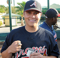18 March 2009: Pitcher Kris Medlen of the Mississippi Braves, Southern League 2009 champs, shows off his ring from the Atlanta Braves at Spring Training camp at Disney's Wide World of Sports in Lake Buena Vista, Fla. Photo by:  Tom Priddy/Four Seam Images