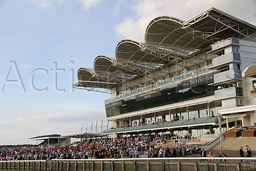 27.09.2014.  Newmarket, England. Betfred Cambridgeshire Day. Main granstand thronging with spectators