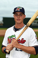 Fort Myers Miracle outfielder Max Kepler (23) poses for a photo before a game against the St. Lucie Mets on April 18, 2014 at Hammond Stadium in Fort Myers, Florida.  St. Lucie defeated Fort Myers 15-9.  (Mike Janes/Four Seam Images)