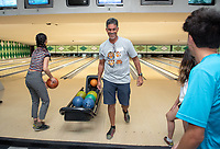 Kerry Thompson, Ph.D., Associate Professor of Biology <br /> Incoming first-years participating in MSI bowl with members of senior staff at All Star Lanes bowling alley in Eagle Rock, July 27, 2018.<br /> The Multicultural Summer Institute (MSI) is a four-week academic/residential program for approximately 50 incoming first-year students who represent a variety of ethnic, regional and cultural backgrounds. Through MSI, Occidental College introduces its student body to the social, cultural and intellectual resources of Southern California, and familiarizes students with the Oxy community and surrounding Los Angeles area.<br /> (Photo by Marc Campos, Occidental College Photographer)