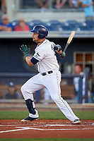 Charlotte Stone Crabs designated hitter Nathaniel Lowe (36) follows through on a swing during a game against the Palm Beach Cardinals on April 20, 2018 at Charlotte Sports Park in Port Charlotte, Florida.  Charlotte defeated Palm Beach 4-3.  (Mike Janes/Four Seam Images)