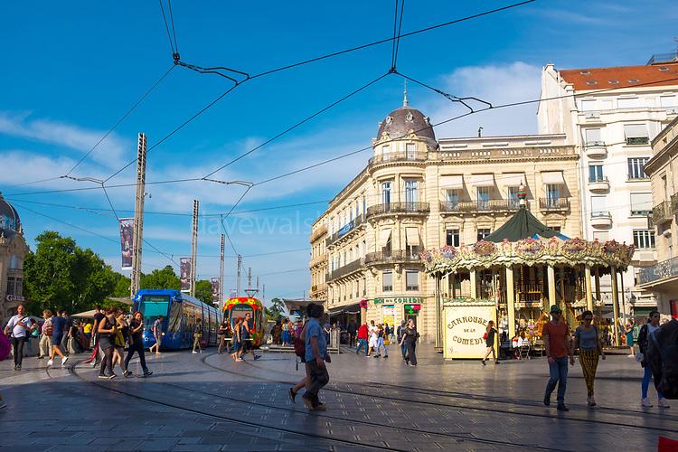 Tram in Place de la Comedie, the main square Montpellier, France