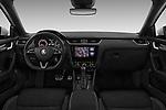 Stock photo of straight dashboard view of a 2017 Skoda Octavia Combi RS 5 Door Wagon