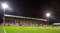 Wycombe warm up during the Sky Bet League 2 match between Dagenham and Redbridge and Wycombe Wanderers at the London Borough of Barking and Dagenham Stadium, London, England on 9 February 2016. Photo by Andy Rowland.
