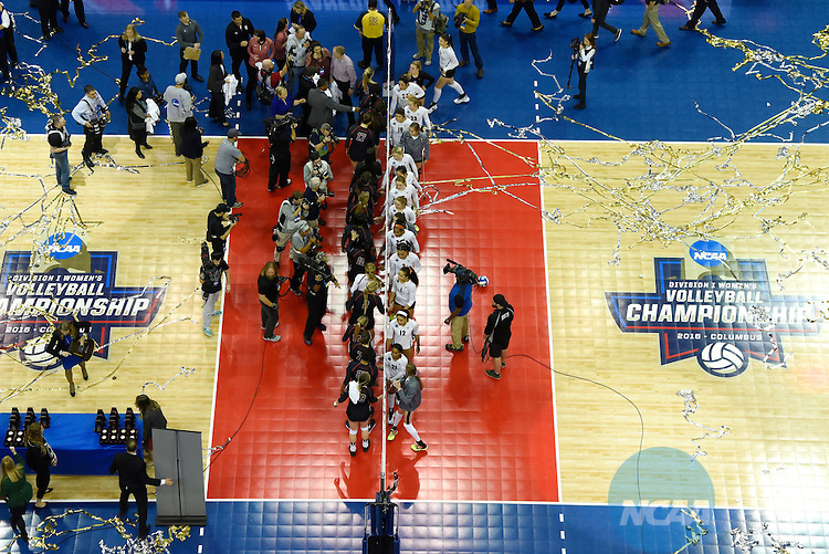 COLUMBUS, OH - DECEMBER 17:  Stanford University and the University of Texas shake hands following the Division I Women's Volleyball Championship held at Nationwide Arena on December 17, 2016 in Columbus, Ohio.  Stanford beat Texas 3-1 to win the national title. (Photo by Jamie Schwaberow/NCAA Photos via Getty Images)