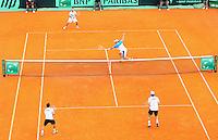 BUENOS AIRES, ARG, 02 FEVEREIRO 2013 - COPA DAVIS - ARGENTINA X ALEMANHA - As duplas argentinas David Nalbandian e Horacio Zeballos (bermuda branca) contra a dupla da Alemanha Christopher Kas e Tobias Makme (bermuda preta) durante a Copa Davis em Buenos Aires, na tarde deste sabado, 02. (FOTO: JUANI RONCORONI / BRAZIL PHOTO PRESS).