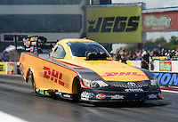 Sept. 15, 2012; Concord, NC, USA: NHRA funny car driver Jeff Arend during qualifying for the O'Reilly Auto Parts Nationals at zMax Dragway. Mandatory Credit: Mark J. Rebilas-