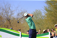 Justin Thomas (USA) tees off the 9th tee during Saturday's Round 3 of the Waste Management Phoenix Open 2018 held on the TPC Scottsdale Stadium Course, Scottsdale, Arizona, USA. 3rd February 2018.<br /> Picture: Eoin Clarke | Golffile<br /> <br /> <br /> All photos usage must carry mandatory copyright credit (&copy; Golffile | Eoin Clarke)