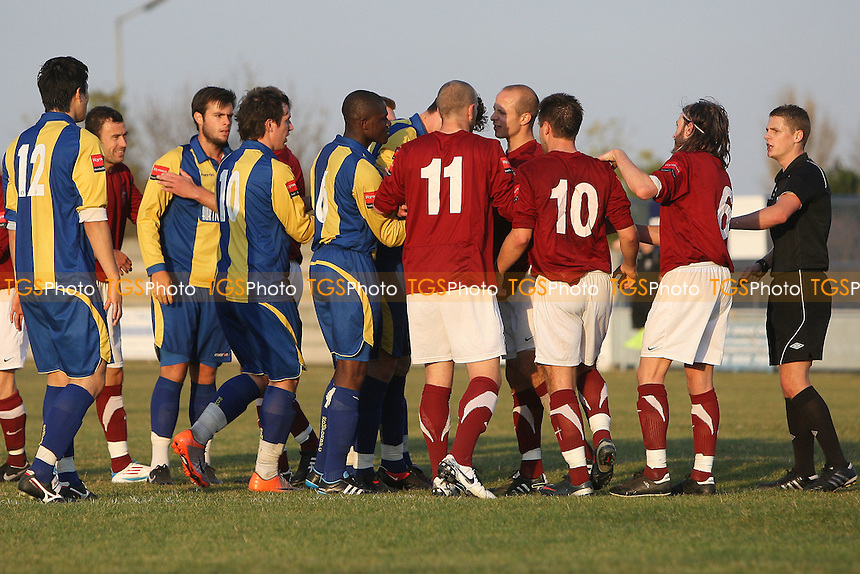 Tempers flare late in the game - Romford vs Leiston - Ryman League Division One North Football at Mill Field, Aveley FC - 21/10/11 - MANDATORY CREDIT: Gavin Ellis/TGSPHOTO - Self billing applies where appropriate - 0845 094 6026 - contact@tgsphoto.co.uk - NO UNPAID USE.